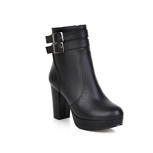 Allhqfashion Women's Closed Round Toe PU Zipper High-Heels Low-top Boots Black L0YWK8NXK