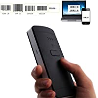 KKMO 2-In-1 Bluetooth & Wired Barcode Scanner USB 1D Mini Portable Handheld CCD Bar Code Reader Compatible with Windows , Mac OS , Android , iOS ,50ft Transmission Save Up To 11000 Barcode