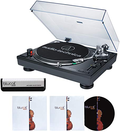 Audio-Technica AT-LP120-USB (Black) Direct-Drive Professional DJ Turntable with USB Output Bundle with Blucoil Vinyl Brush, Slipmat, and Two LP Inner Sleeves