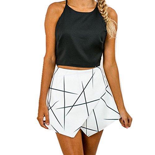 Oudan Shorts Blanc Mini Taille Chic Pantalons Femme pour Taille Et Grande Haute Imprim CrqS15wr