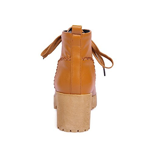 Closed Round Toe Boots Solid AmoonyFashion Up Kitten Lace Womens PU Brown Heels v8x0zw8q