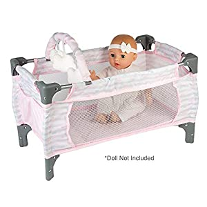 Adora Baby Doll Crib Pink Deluxe Pack N Play 7-Piece Set Fits Dolls up to 20 inches, Bed/Playpen/Crib, Changing Table, 3…