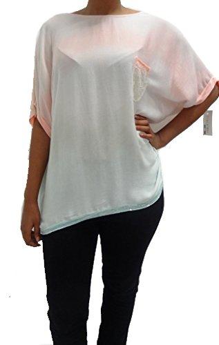 top de las señoras bolsillo de las mujeres de lentejuelas multicolor italiana superior de un tamaño 8 10 12 14 melocoton