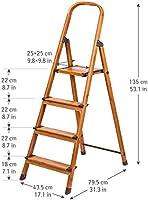 Tatkraft Upgrade 4 Escalera Doméstica de 4 Peldaños Antideslizantes |Taburete Plegable de Cocina de 4 Escalones | Escalerilla de Aluminio Estilo de Madera Escandinava: Amazon.es: Hogar