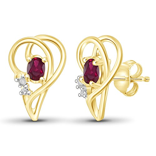 1/2 CTW Ruby Gemstone & Accent White Diamond Earring in 14kt Gold Over Silver