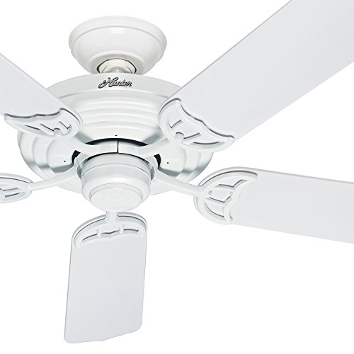 Hunter Fan 52'' Outdoor ENERGY STAR Ceiling Fan in White with Stainless Steel Hardware to Resist Rust, 5 Blade (Certified Refurbished) by Hunter Fan Company