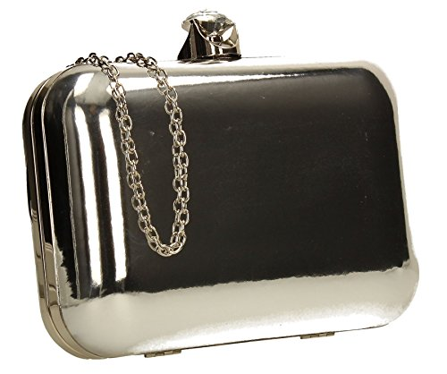 Camilla Patent Metallic Leather Box Clutch Womens Party Prom Wedding Ladies Clutch Bag - Silver
