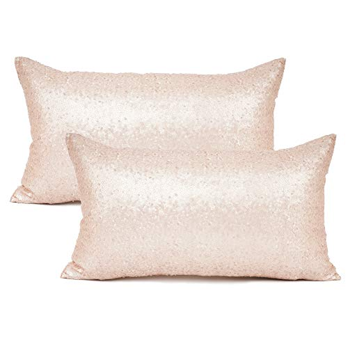 YOUR SMILE Pack of 2, New Luxury Series Rose Gold Decorative Glitzy Sequin & Comfy Satin Solid Throw Pillow Cover Cushion Case for Wedding/Party,12