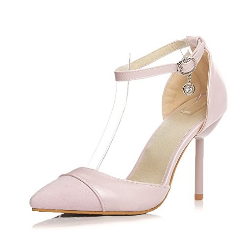 AgooLar Women's Pointed Closed Toe High-Heels Soft Material Solid Buckle Sandals Pink