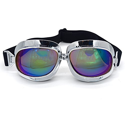 Evomosa Motorcycle Goggles Retro Vintage Motocross Off-Road ATV Pilot Goggle Eyewear Sports Glasses Snowboard Ski Bikes Helmet Goggles (Silver, Blue) by Evomosa