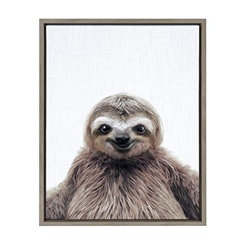 (Kate and Laurel Sylvie Sloth Color Framed Canvas Art by Simon Te Tai 18x24 Gray)