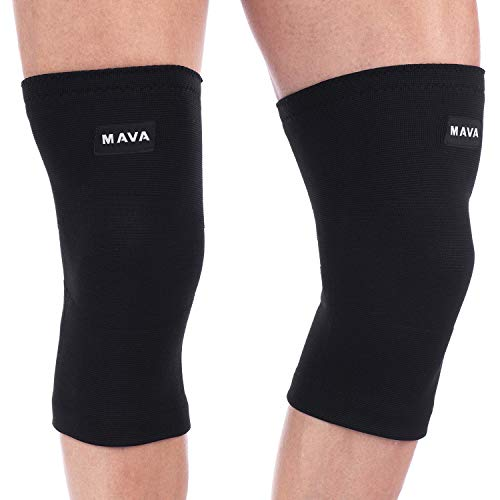 Mava Sports Knee Compression Sleeve Support (All Black, XX-Large)