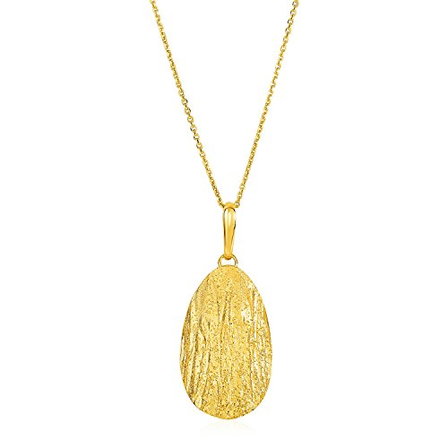 Textured Oval Pendant with Yellow Finish in Sterling (Textured Oval Pendant)