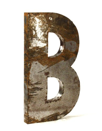 Industrial Rustic Metal Large Letter B 36 Inch - Industrial Letter B