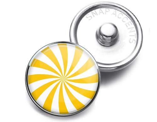 (Choose a Color | Peppermint Swirl Candy Snap Jewelry 18MM SnapAccents Charm Button (Yellow))