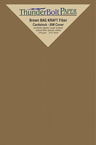 (50 Brown Bag Colored Cardstock Paper Sheets - 4 X 6 inches Photo|Card|Frame Size - 80 lb/Pound Cover|Card Weight 216 GSM - Natural Kraft Fiber with Darker Specks - Slightly Rough Finish)
