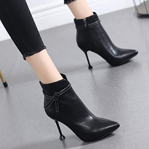 HRCxue Pumps Ankle Stiefel weiblicher Bogen hoher Absatz Spitze Martin-Stiefel weiblich