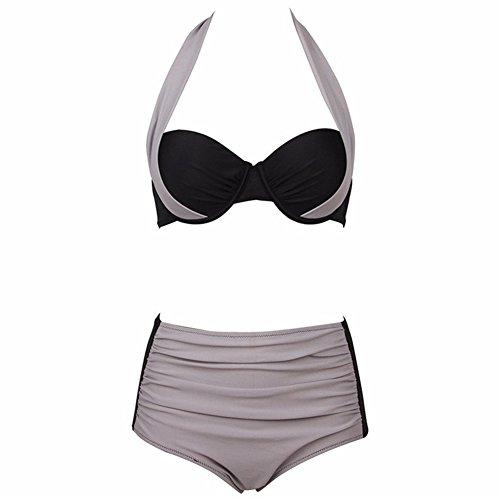 Uskincare Traje de Baño Mujer Altura de la Cintura Bañador con Tirantes Playa Mar Verano 10-Gris+Negro