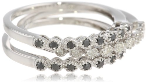 10k Gold Black And White Diamond Stack Ring (1/4 cttw), Set Of 3 (Gold Diamond Stack Ring)
