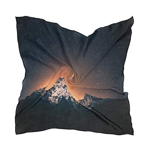Silk Scarf Starry Sky Over Himalayan Mountains Square Headscarf 23 x 23 inches for Women