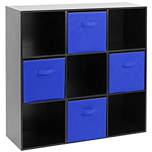 Hartleys Black 9 Cube Unit U0026 4 Blue Storage Drawers