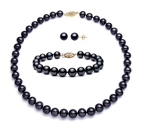 14k Sterling Silver Black Freshwater Cultured Pearl Set AA+ Quality (7.5-8mm) by Premium Pearl, Inc