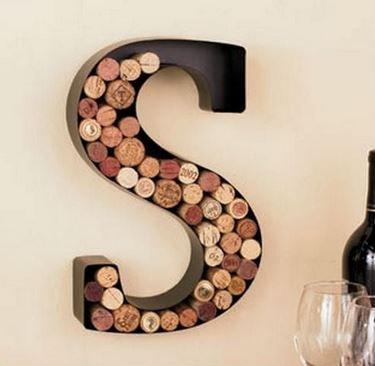 Monogram Letter ''H'' Wall Wine Cork Holder in Black Metal