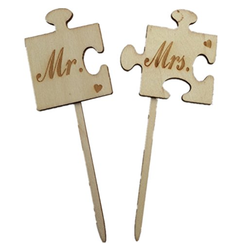Tinksky 2pcs Mr Mrs Wooden Cake Topper Sticks Wedding Cake Decoration Photo Props