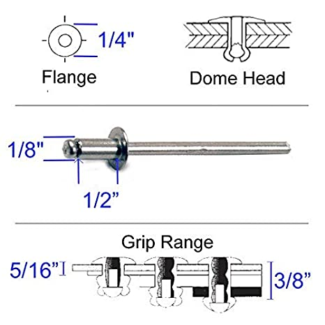 Dome Clipsandfasteners Inc 100 3//32 All Aluminum Panel Blind Rivets 1//32-1//8 Grip