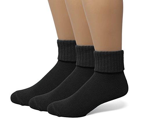Ladies Soft Ribbed Turn Cuff Down Ankle Crow Cotton Socks Hosiery 3-Pack Black 9-11 ()