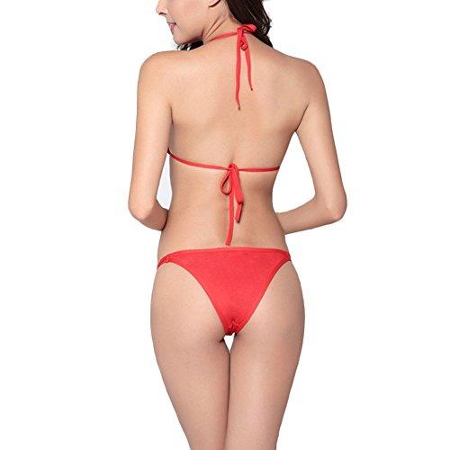 JIAJIA - Conjunto - Básico - Sin mangas - para mujer Rosso
