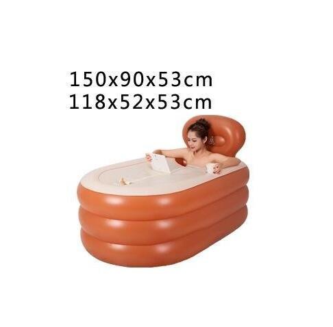 Z&HX-Ü bergroß e Aufblasbare Badewanne Verdickte Erwachsenen Erwachsenen Badewannen-Swimmingpool-Faltende Bad-Fass-Badewanne, Orange, 150X90X53CM