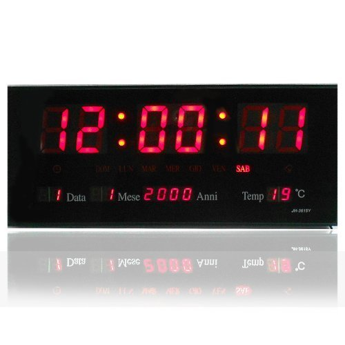 RELOJ DE PARED DIGITAL LED CUARZO FECHA TEMPERATURA BAR CAFETERIA KIOSKO XXL: Amazon.es: Hogar
