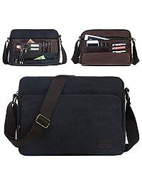 Eshow Men's Retro Canvas Weekend Travel Crossbody Sling 14 Inch Laptop Messenger School Vintage Bag Daypack Casual (Black1)
