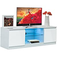 High Gloss TV Stand Unit Cabinet Media Console Furniture w/ LED Shelves White