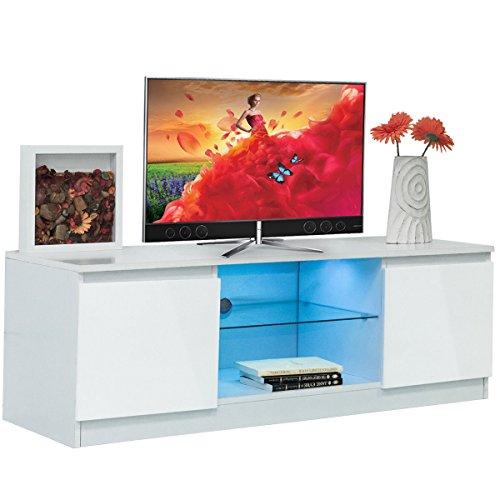 High Gloss TV Stand Unit Cabinet Media Console Furniture w/ LED Shelves White (Unit Media Light Oak)