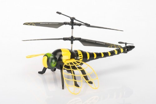 Haktoys HAK377 RC Dragonyfly Mini 3 CHannel Helicopter, Gyroscope, Rechargeable, Ready to Fly, and with LED Lights