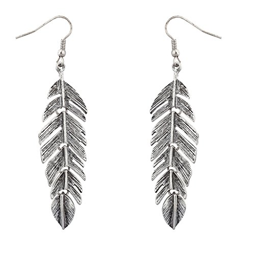 (Lux Accessories Silver Tone Burnished Metal Leaf Tree Of Life Feather Dangle Earrings)