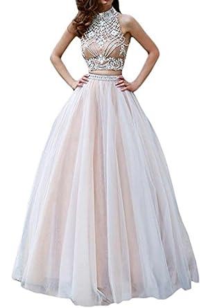 Homdor Women Long A Line Two Piece Prom Dress Sleeveless Elegant Evening Gowns