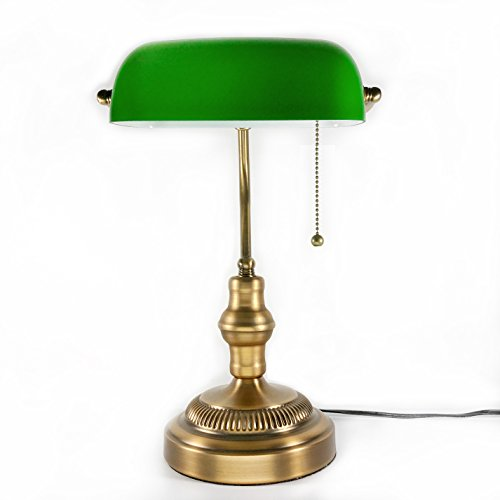 Bon Traditional Bankers Lamp, Brass Base, Handmade Green Glass Shade,Vintage  Table Light,