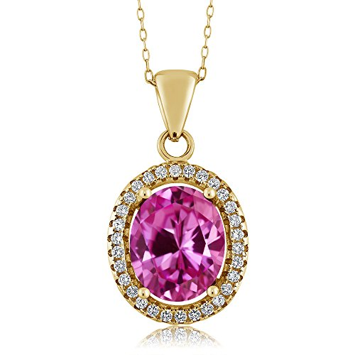 4.90 Ct Oval Pink Created Sapphire 18K Yellow Gold Plated Silver Pendant