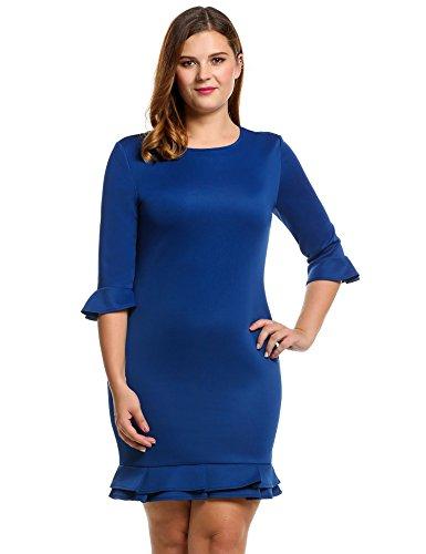 Meaneor Damen 3 4 ärmeln Kleid Große Größen Fishtail Kleid Cocktailkleid  Business Elastisch mit Rüschensaum 19a9c9afb0
