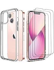 """Pnakqil Etui kompatybilne z iPhone 13 6,1"""", z 3 sztukami szkła pancernego na wyświetlacz folia ochronna bez pęcherzyków powietrza Slim miękki silikon TPU Case Cover etui na telefon komórkowy iPhone 13, przezroczyste"""
