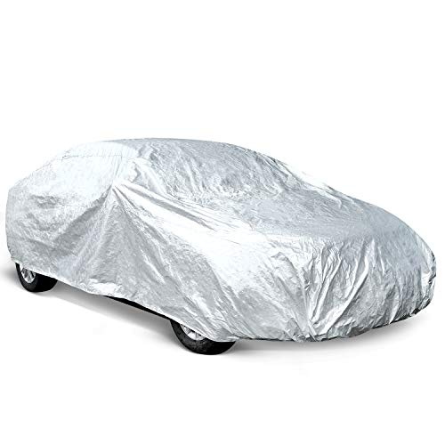 Ohuhu Car Covers for Sedan Outdoor, 2019 Upgrade Car Cover Windproof Dustproof Scratch Resistant Universal Full Size Auto Vehicle Cover for Sedan L (191