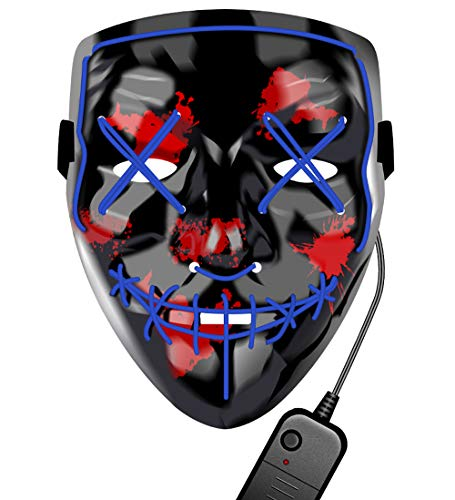 LED Halloween Mask - Glowing Mask 2019 LED Mask Light Up Mask The Purge Mask for Women Men DJ Cosplay Costume Masquerade Carnival Halloween (Best Male Halloween Costumes 2019)