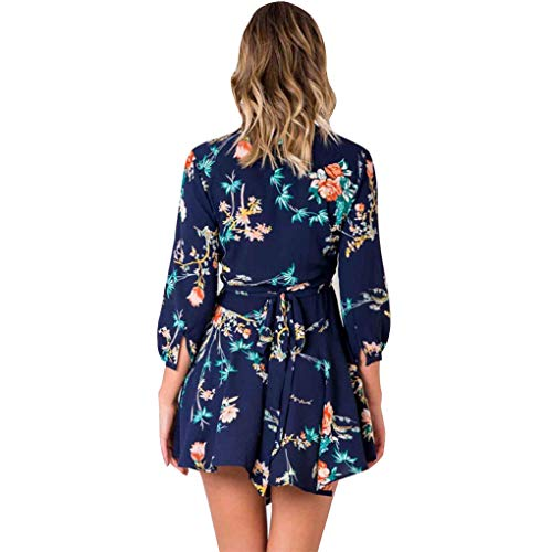 Robe Manches Masterein Fille Floral Courte col en Femmes V bleu Mini imprim des Quarts Robe Trois OO0grdq