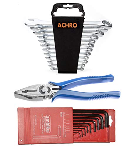 AMBITEC / RUSTON Home/Car/Bike/Tool Kit Set of 22 Pieces with 12 Piece Satin Finish Wrench Set/9 Pieces Allen Key Set in mm/8 Inch Plier Price & Reviews