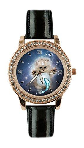 Supremecom Galaxy cat white fish Custom Design Fashion Glamour Women Black Leather Rose Gold Quartz Crystal Watch ()