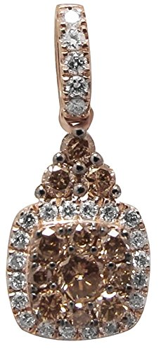 Prism Jewel 0.40Ct Round Brilliant Cut Brown Diamond With Diamond Pendant, 14k Rose Gold
