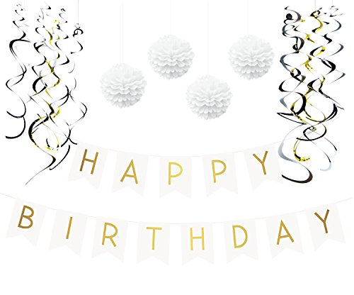 Birthday Party Pack - White Happy Birthday Bunting, Poms, and Swirls Pack- Birthday Decorations - 21st - 30th - 40th - 50th Birthday Party Supplies